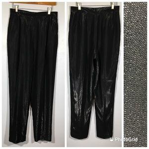 Retro Black Shiny Metallic Matrix High Rise Pant